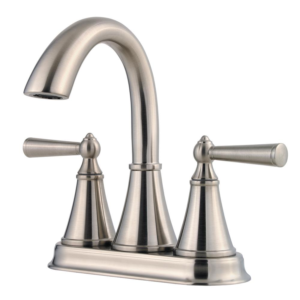 Pfister Saxton 4 in. Centerset 2-Handle Bathroom Faucet in Brushed Nickel