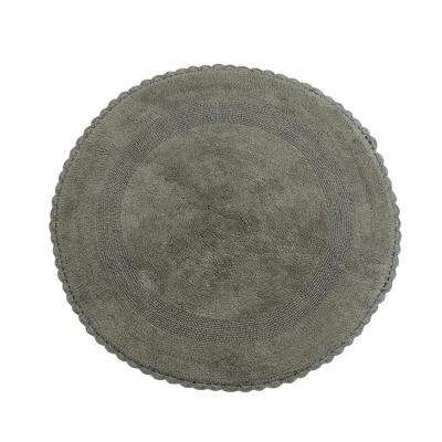 Crochet Lace 36 in. Round Cotton Reversible Gray Hand Knitted Crochet Lace Border Machine Washable Bath Rug