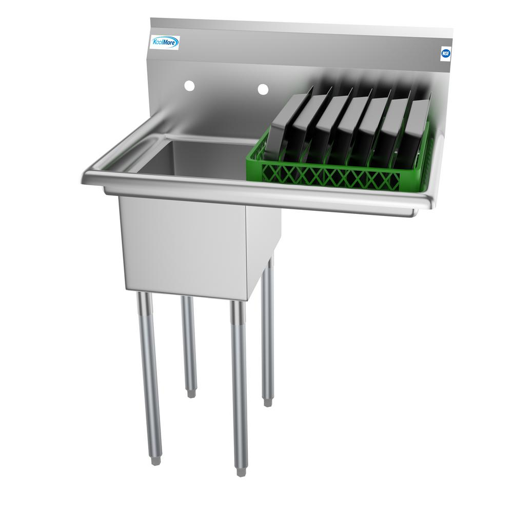 Koolmore Freestanding Stainless Steel 31 in. 2-Hole Single Bowl Commercial Kitchen Sink Left Drainboard