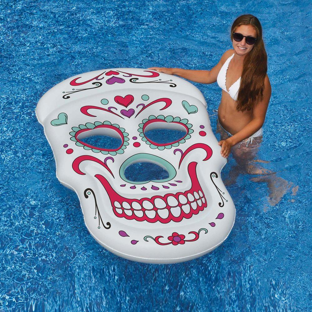 Swimline sugar skull 62 in x 40 in inflatable pool float nt2754 the home depot - Inflatable pool ...
