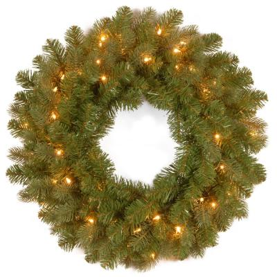 24 in. Feel-Real Downswept Douglas Fir Wreath with 50 Warm White LED Lights