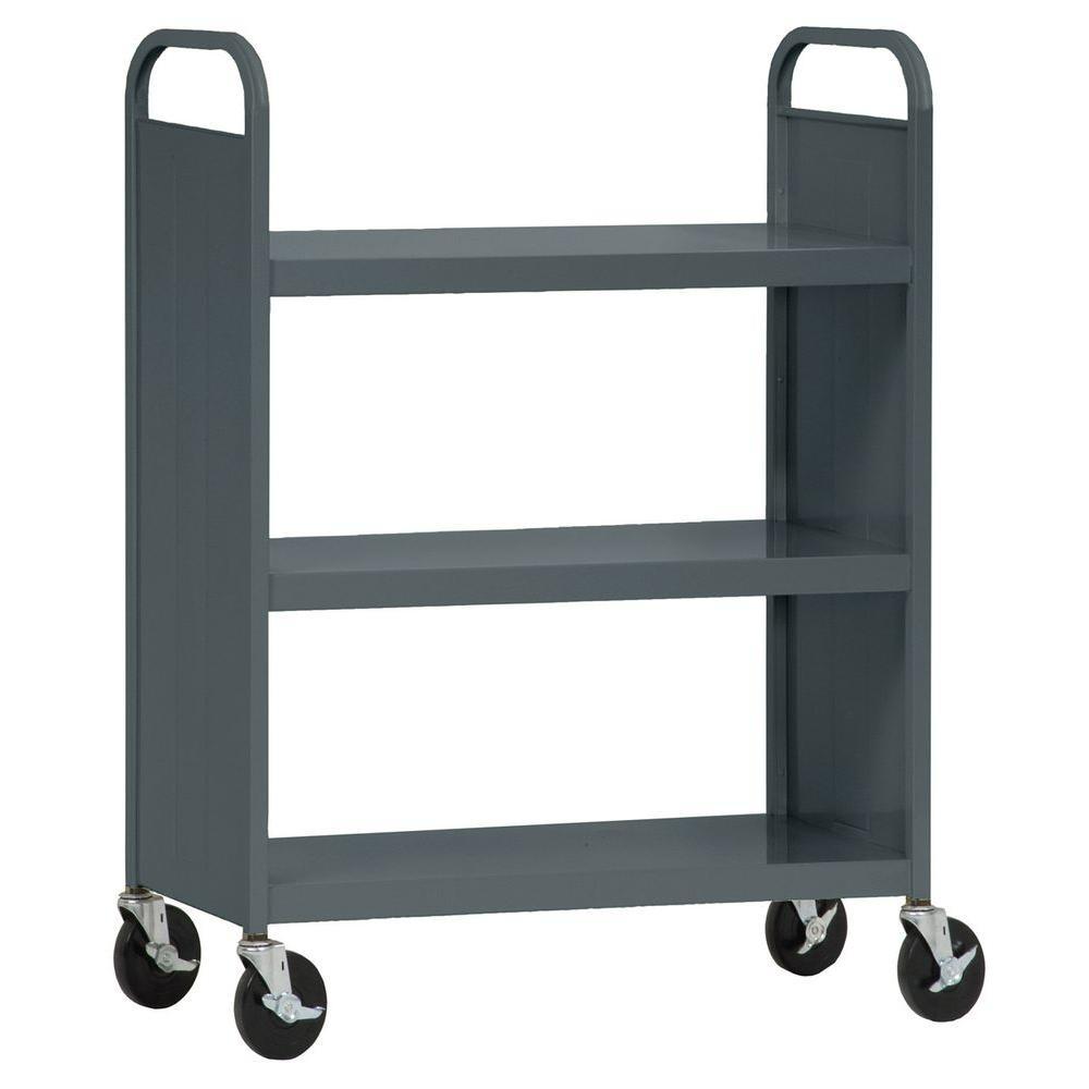Sandusky 33 in. W x 18 in. D x 46 in. H Heavy Duty Steel Flat Shelf Book/Utility Truck