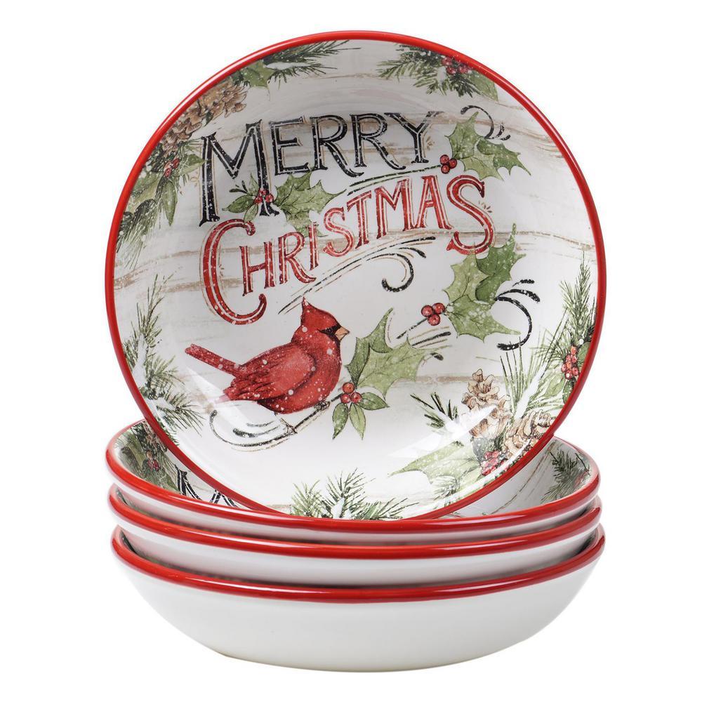 Evergreen Christmas 36 oz. Multicolored Earthenware Soup Bowl (Set of 4)
