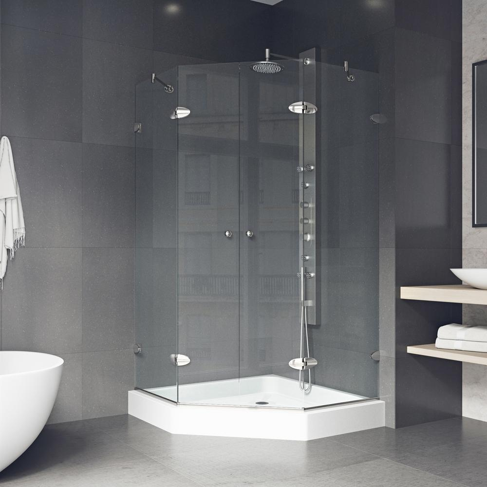 VIGO Gemini 47.625 in. x 78.75 in. Frameless Neo-Angle Shower Enclosure in Brushed Nickel with Clear Glass and Base