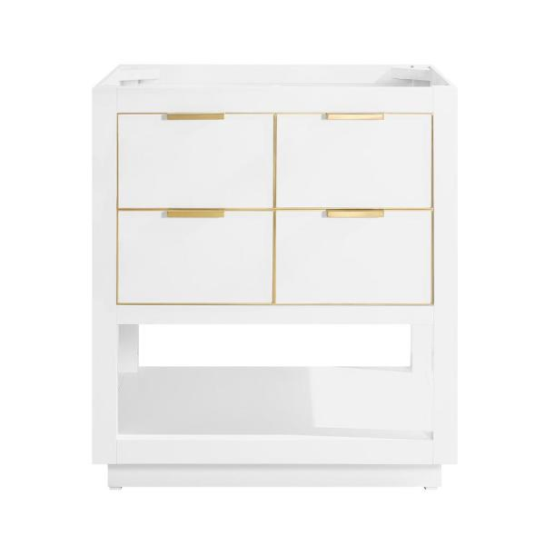 Allie 30 in. Bath Vanity Cabinet Only in White with Gold Trim