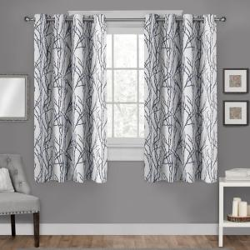 Branches Indigo Linen Blend Grommet Top Window Curtain