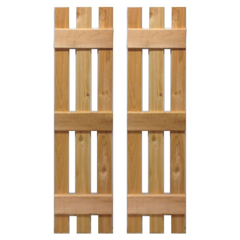 12 in. x 36 in. Natural Cedar Baton Spaced Shutters Pair