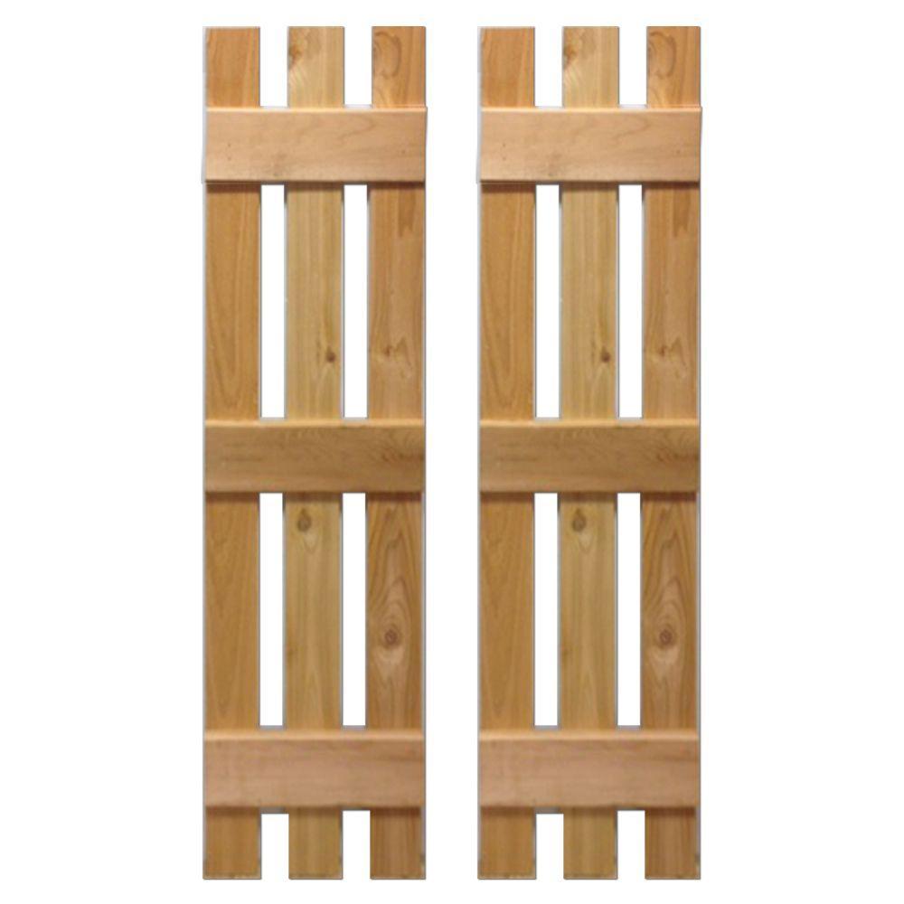 12 in. x 36 in. Natural Cedar Baton Spaced Shutters Pair