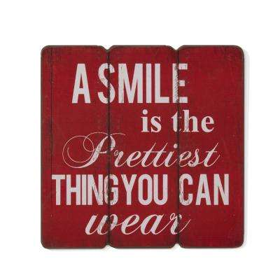 Inspirational A Smile is the Prettiest Thing you can Wear Wooden Wall Art Sign