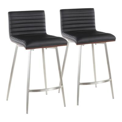 Mason 26 in. Black Faux Leather Counter Stool (Set of 2)