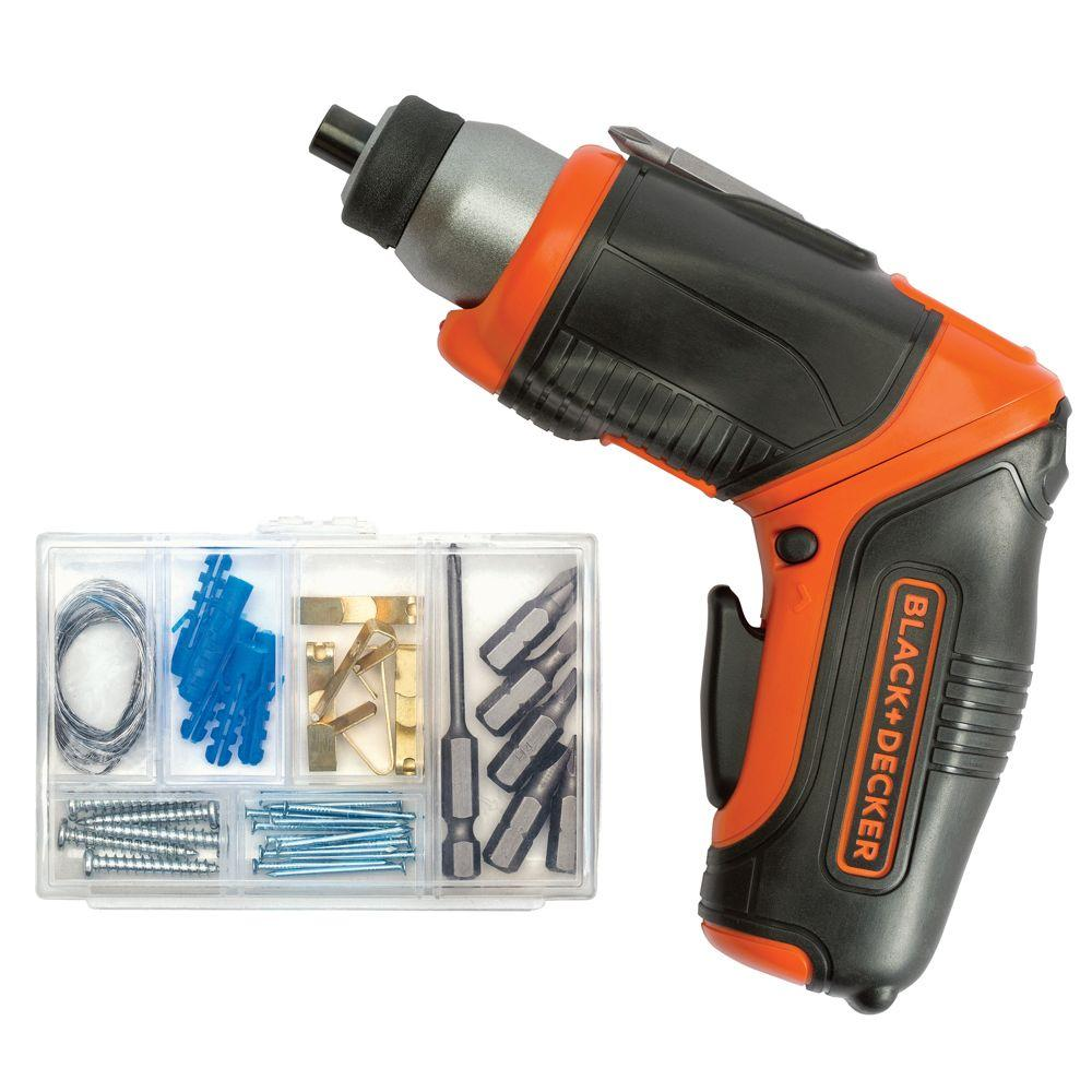 BLACK+DECKER 4-Volt MAX Lithium-Ion Cordless Rechargeable Pivot Screwdriver with Charger and Accessories