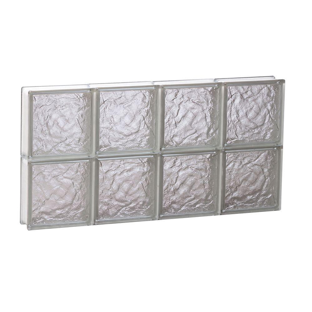Clearly Secure 31 in. x 15.5 in. x 3.125 in. Non-Vented Ice Pattern Glass Block Window