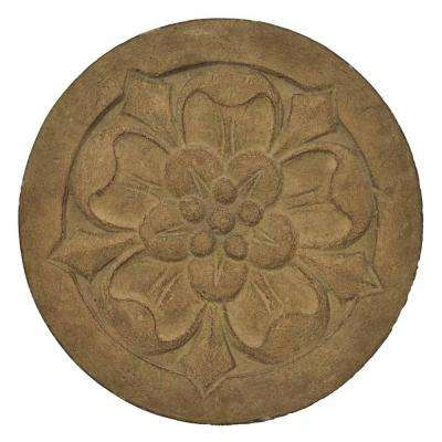 12 in. Round Cast Stone Small Floral Stepping Stone