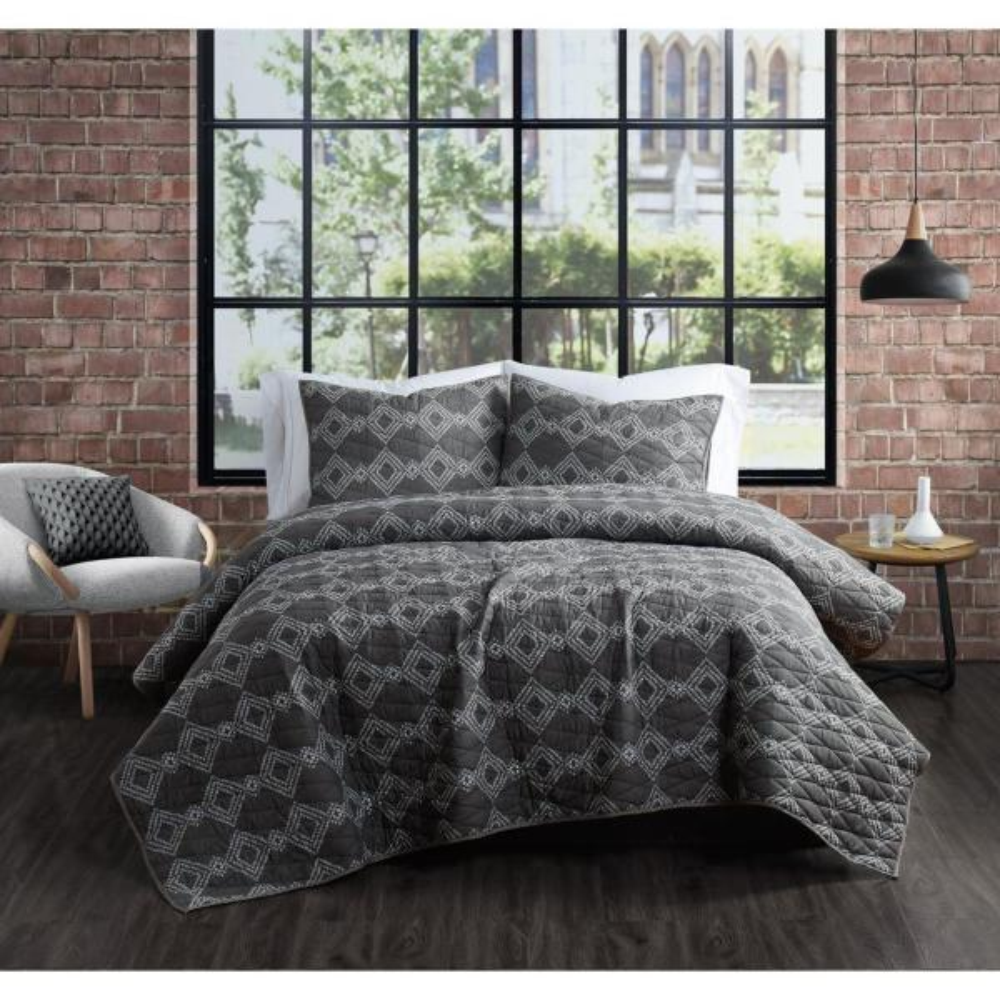 Nina Grey Cotton 3-Piece King Quilt Set