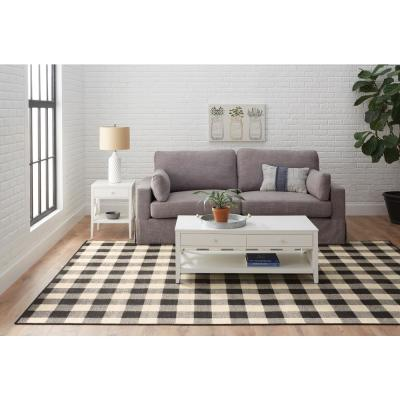 Collins Black/Ivory 2 ft. x 7 ft. Plaid Indoor/Outdoor Runner Rug