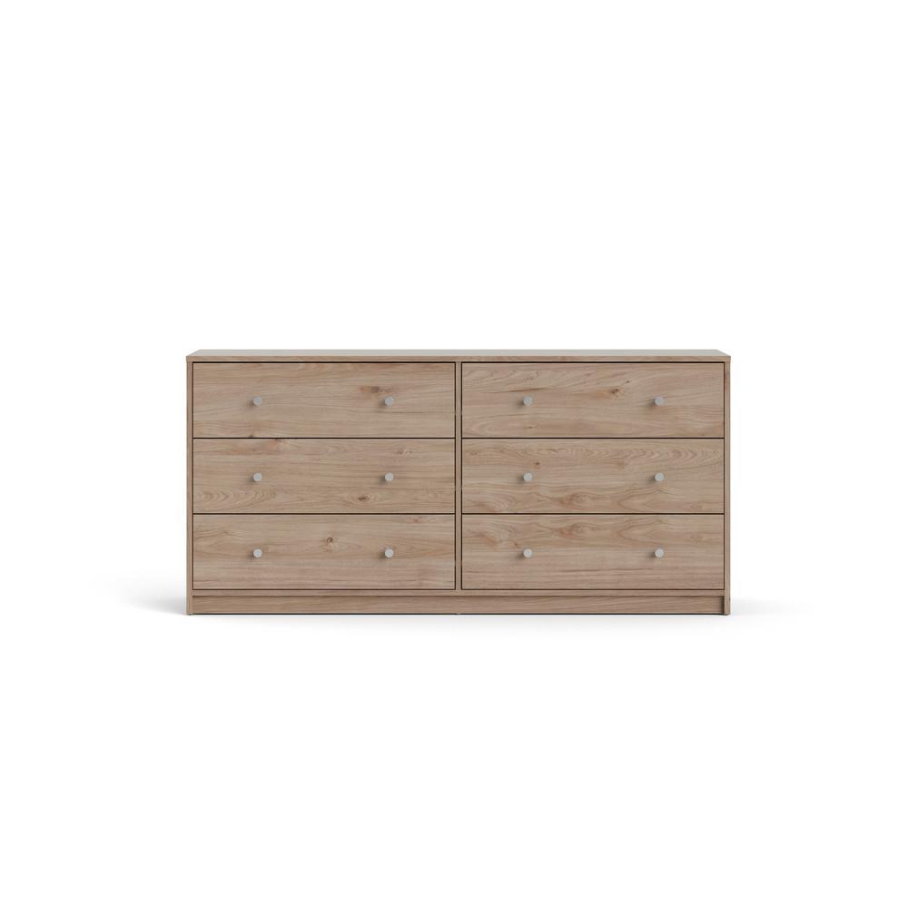 Portland 6-Drawer Double Dresser in Oak 26.89 in. H x 56.34 in. W x 12.46 in. D