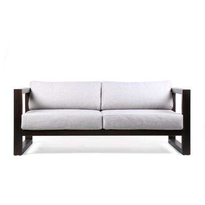 Paradise Outdoor Patio Sofa in Eucalyptus Wood with Earth Finish and Light Gray Fabric