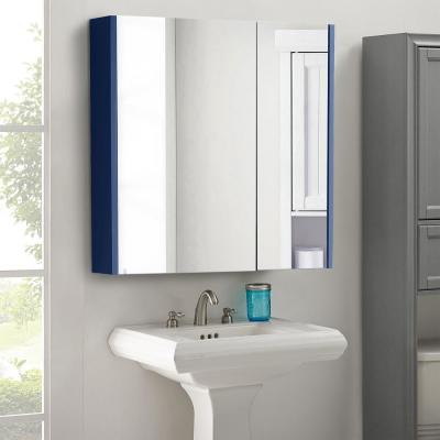 30 in. x 30 in. Surface-Mount Medicine Cabinet in 2 Door Blue with 2 Shelves and Mirror