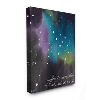 "30 in. x 40 in. ""Find Your Star Blue Purple and Green Sky Watercolor Space"" by Katie Doucette Canvas Wall Art"