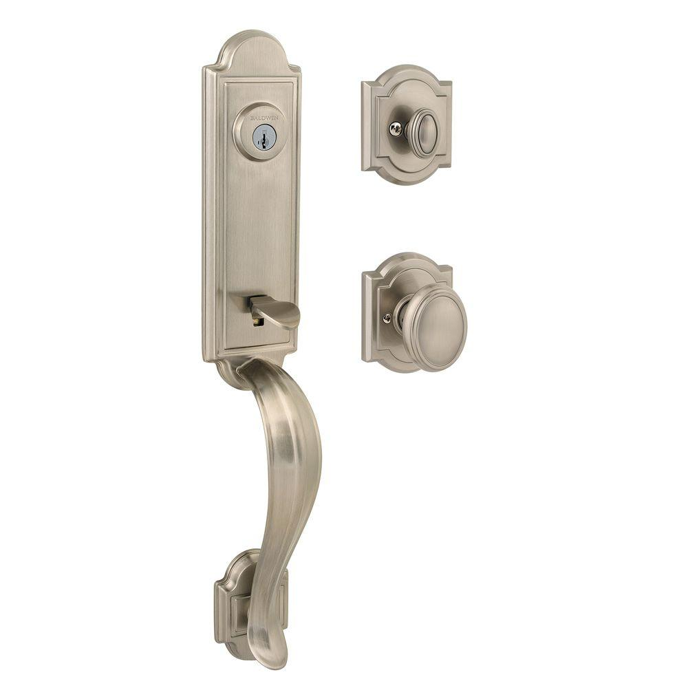 Baldwin Prestige Avendale Single Cylinder Satin Nickel Exterior Handleset with Carnaby Entry Knob featuring SmartKey