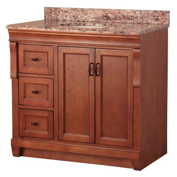 Naples 37 in. W x 22 in. D Bath Vanity in Warm Cinnamon with Left Drawers with Stone Effects Vanity Top in Santa Cecilia