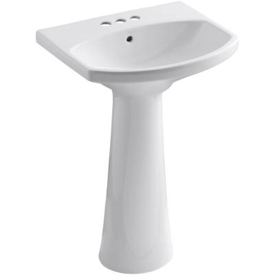 Cimarron 4 in. Centerset Vitreous China Pedestal Combo Bathroom Sink in White with Overflow Drain