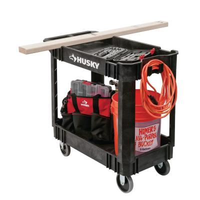 2-Tier Plastic 4-Wheeled Service Cart in Black with 500 lb. Capacity