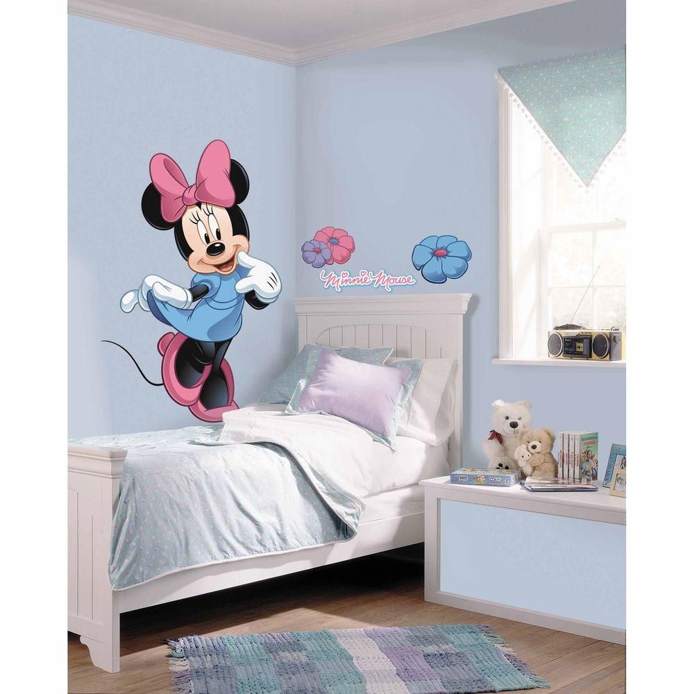 5 in. x 19 in. Mickey and Friends Minnie Mouse Peel and Stick Giant Wall  Decal (8-Piece)