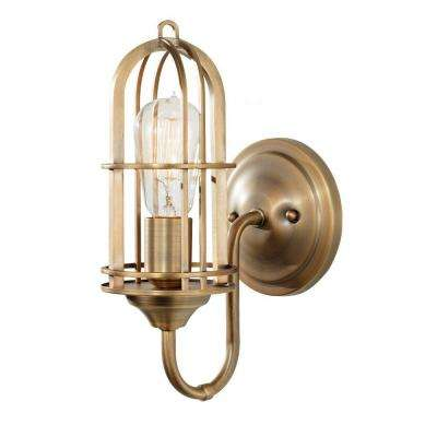 Urban Renewal 5.5 in. W 1-Light Dark Antique Brass Sconce
