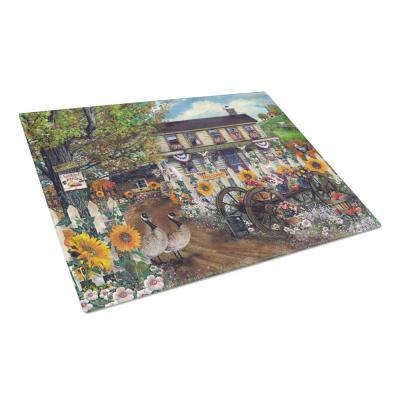 Sunflowers and The Old Country Store Tempered Glass Large Heat Resistant Cutting Board
