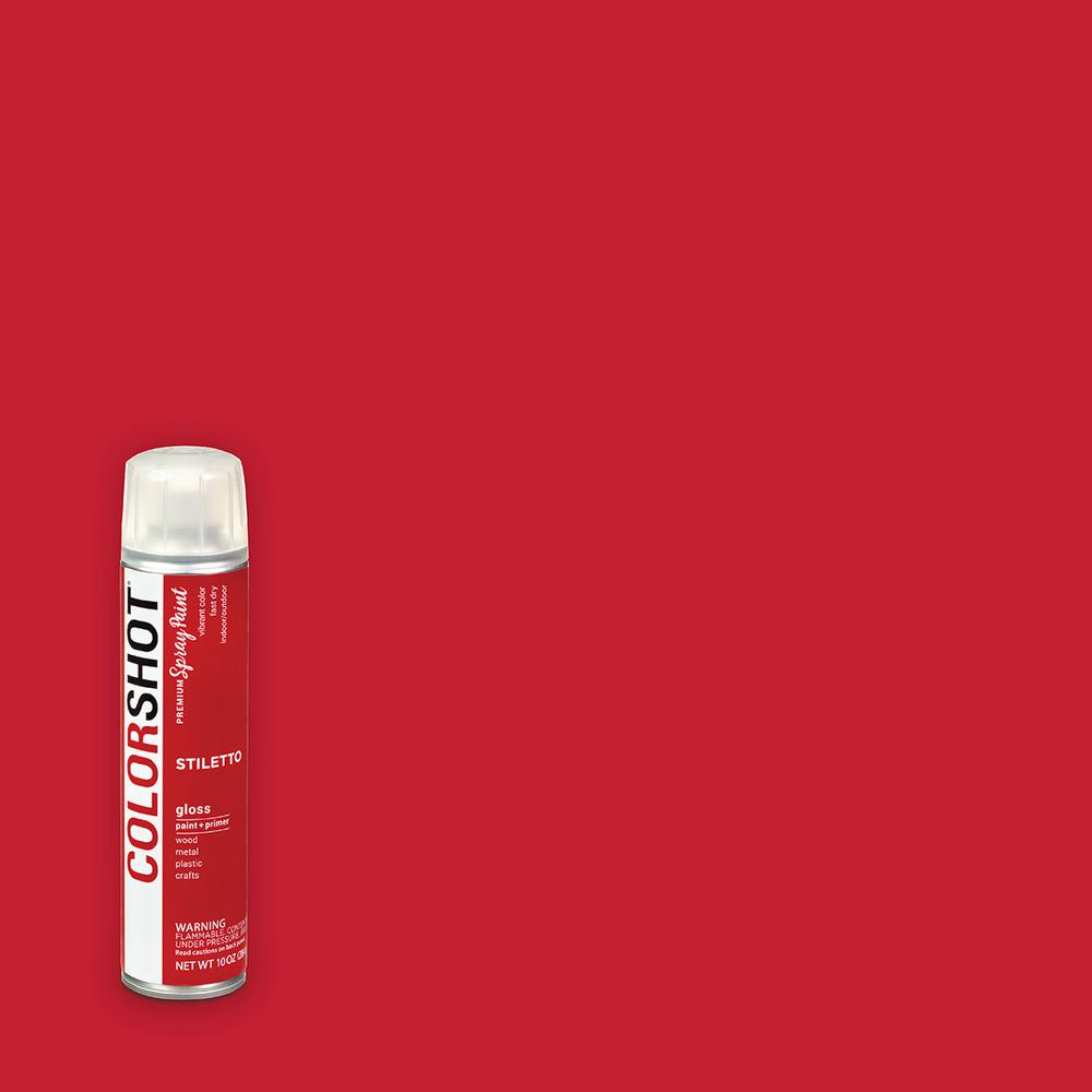 COLORSHOT 10 oz. Gloss Stiletto Red General Purpose Aerosol Spray Paint