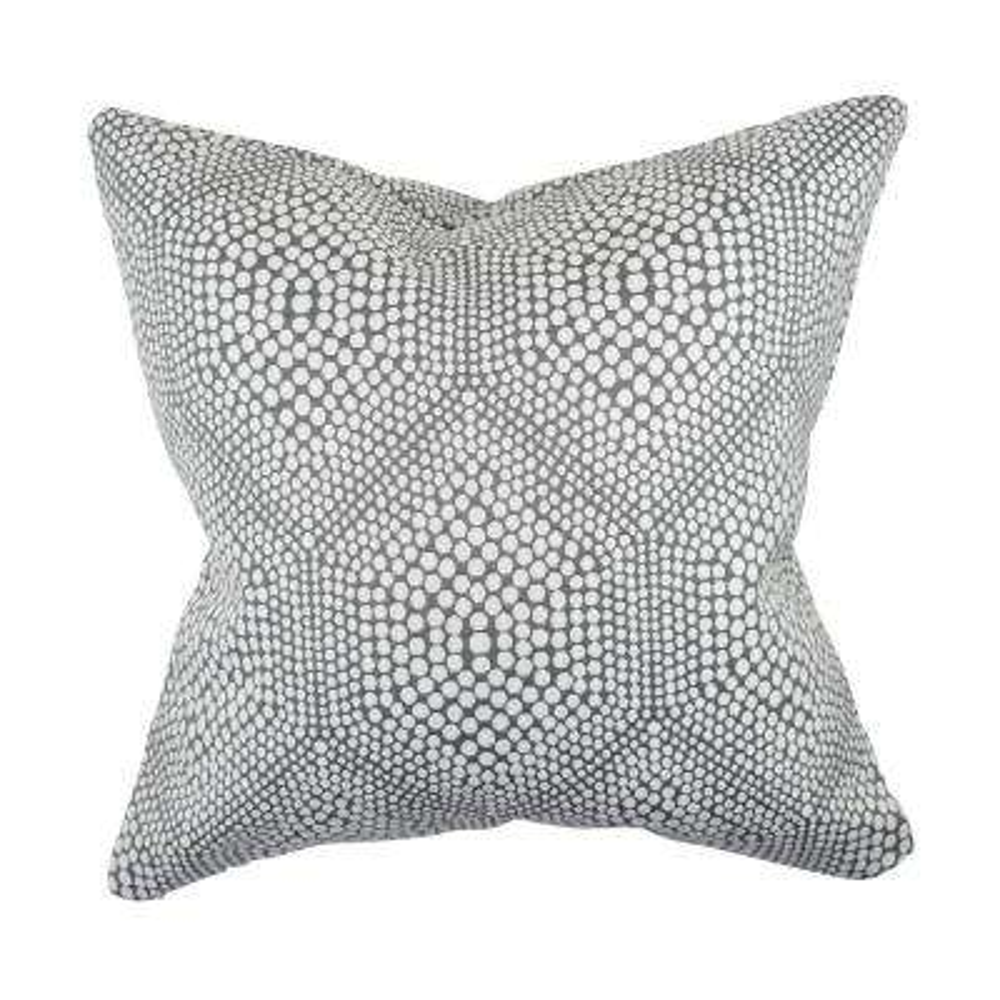 Modern Gray Polka Dot Woven Throw Pillow