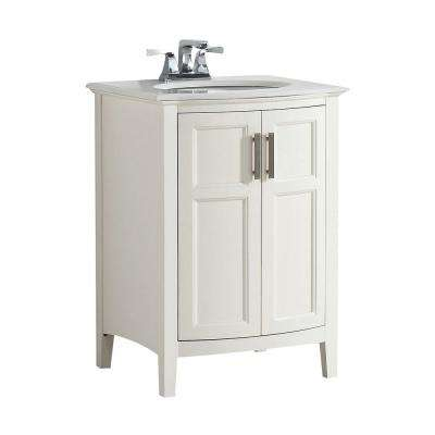 Winston Rounded Front 24 in. Bath Vanity in Soft White with Quartz Marble Vanity Top in Bombay White with White Basin