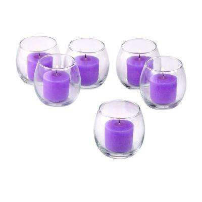 Clear Glass Hurricane Votive Candle Holders with Lavender Votive Candles (Set of 12)
