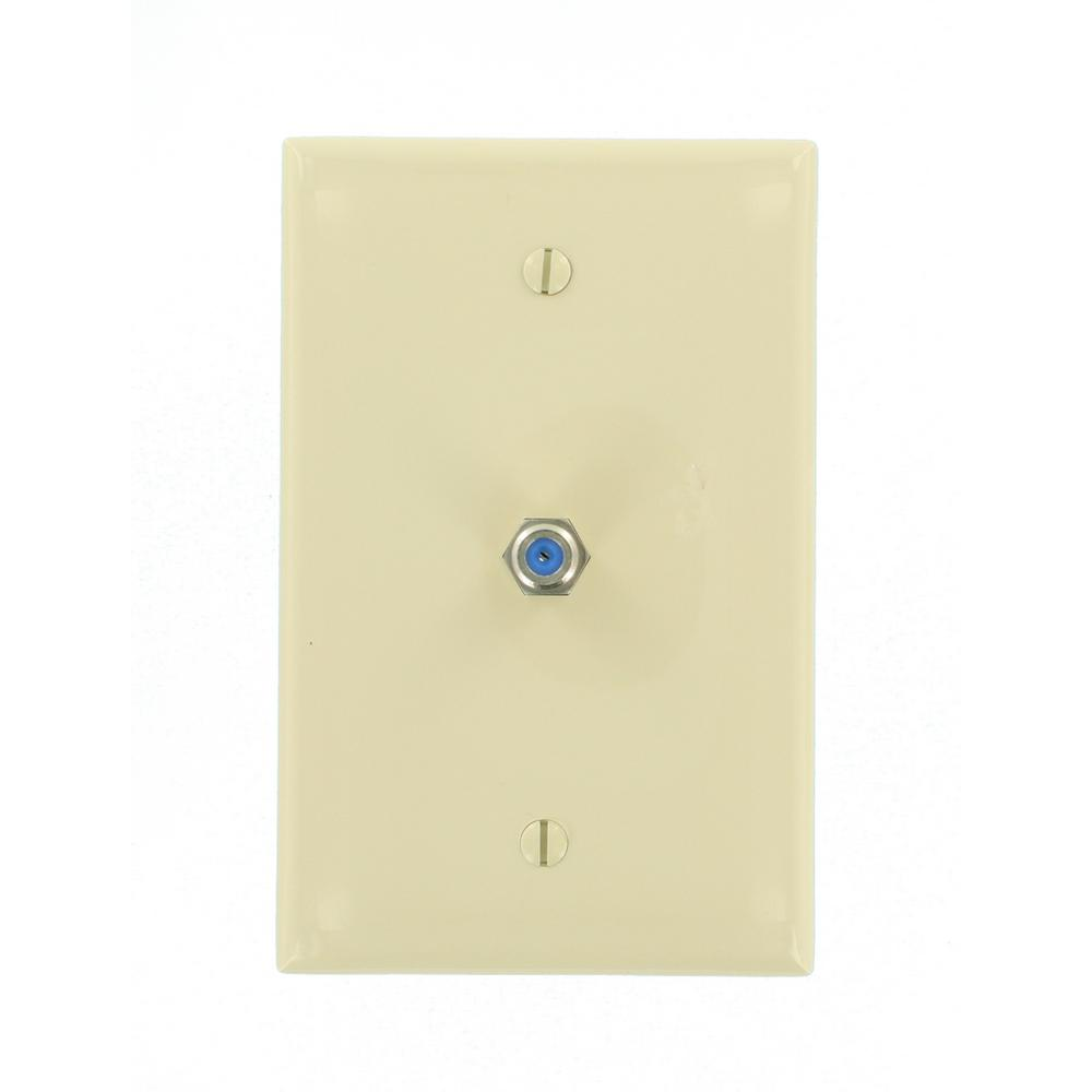1-Gang Midway CATV Wall Plate, Ivory