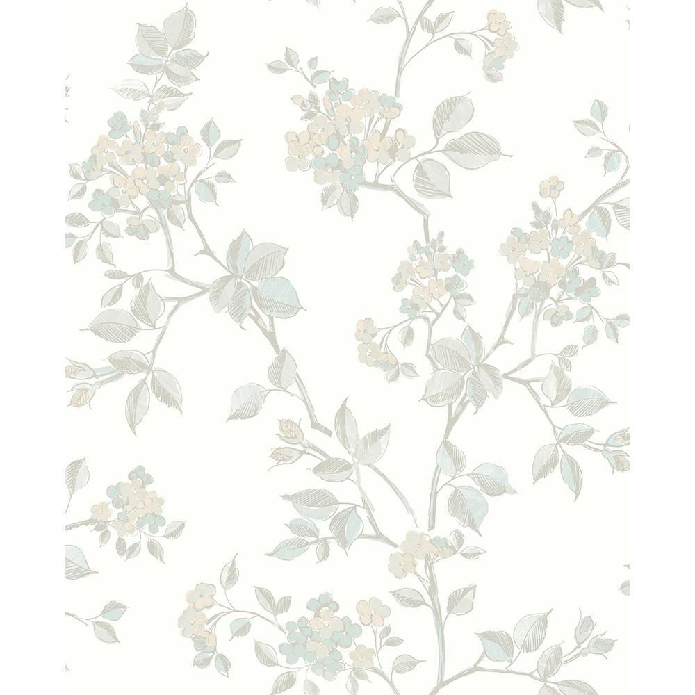 56.4 sq. ft. Parry Light Grey Floral Wallpaper
