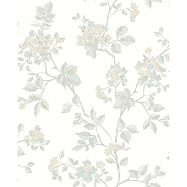 Advantage 8 in. x 10 in. Parry Light Grey Floral Wallpaper