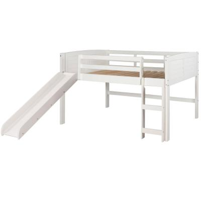 White Twin Louver Low Loft Bed with Slide
