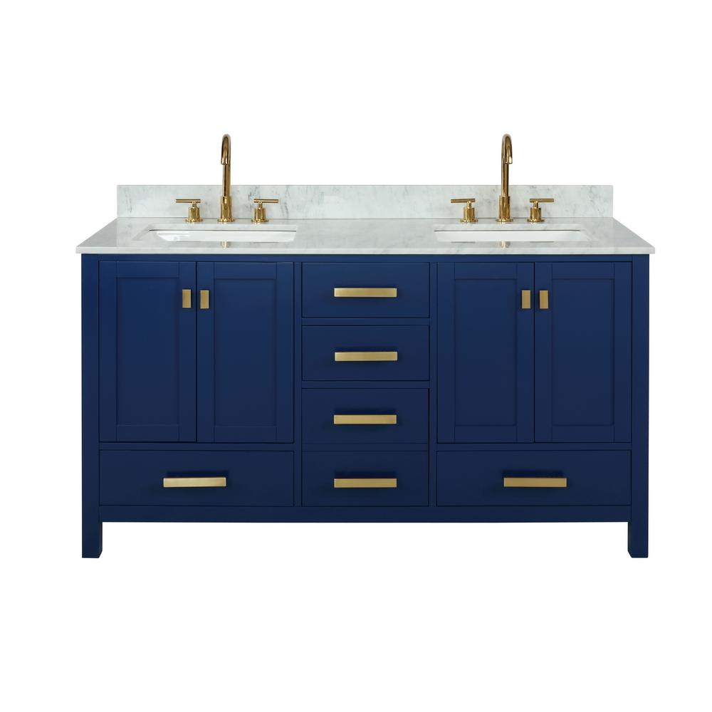 Design Element Valentino 60 in. W x 22 in. D Bath Vanity in Blue with Carrara Marble Vanity Top in White with White Basin