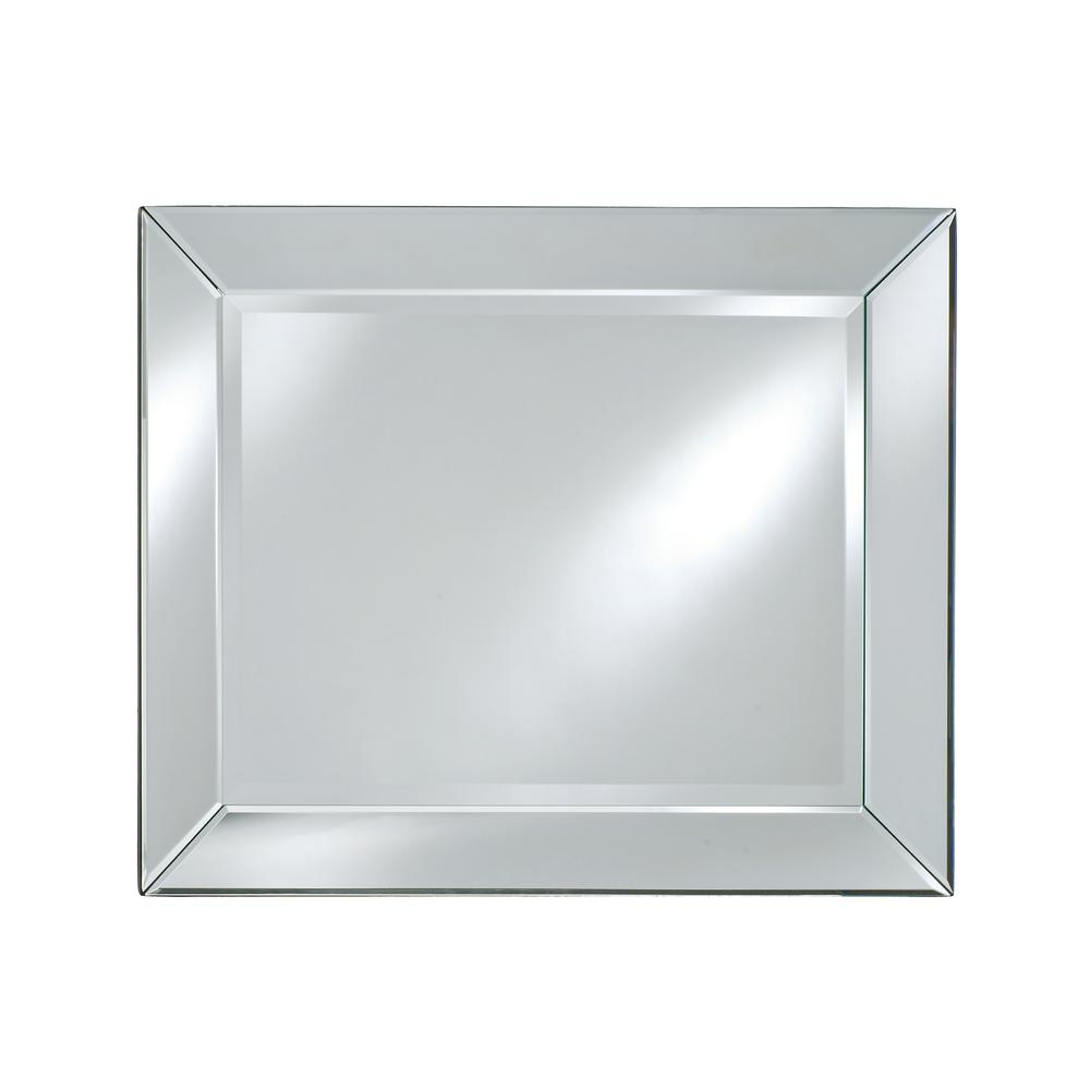 Afina Radiance Contemporary Rectangular Cut Glass Decorative Mirror 40 In X 51 In Rm 110 The Home Depot