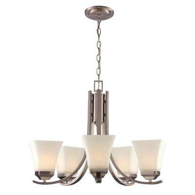 5-Light Brushed Nickel Chandelier with Glass Shade