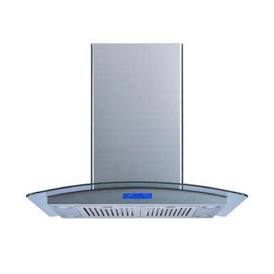 36 in. Convertible Island Mount Range Hood in Stainless Steel and Tempered Glass with Baffle Filters and Touch Control