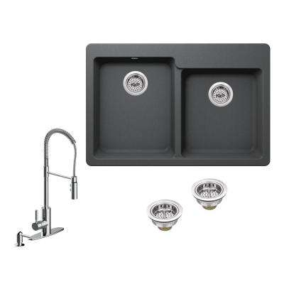 All-in-One Drop-in Granite Composite 33 in. 4-Hole 50/50 Double Bowl Kitchen Sink in Grey with Faucet in Polished Chrome