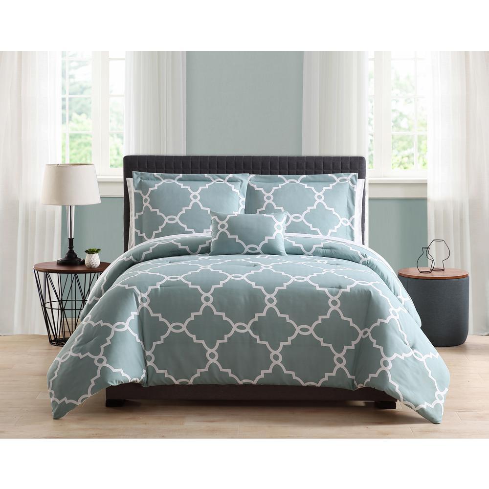 Allyson 8-Piece Blue Full/Queen Comforter Set