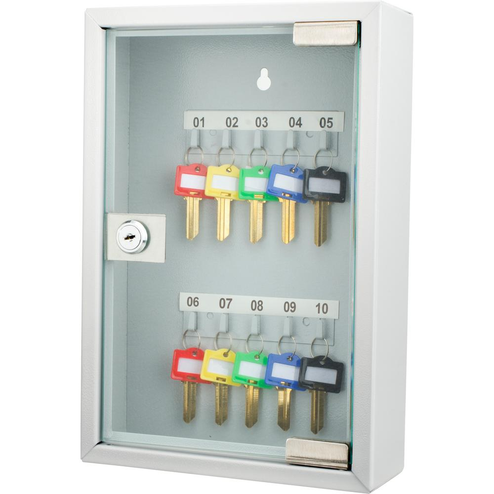 10-Position Steel Key Cabinet with Glass Door, Grey
