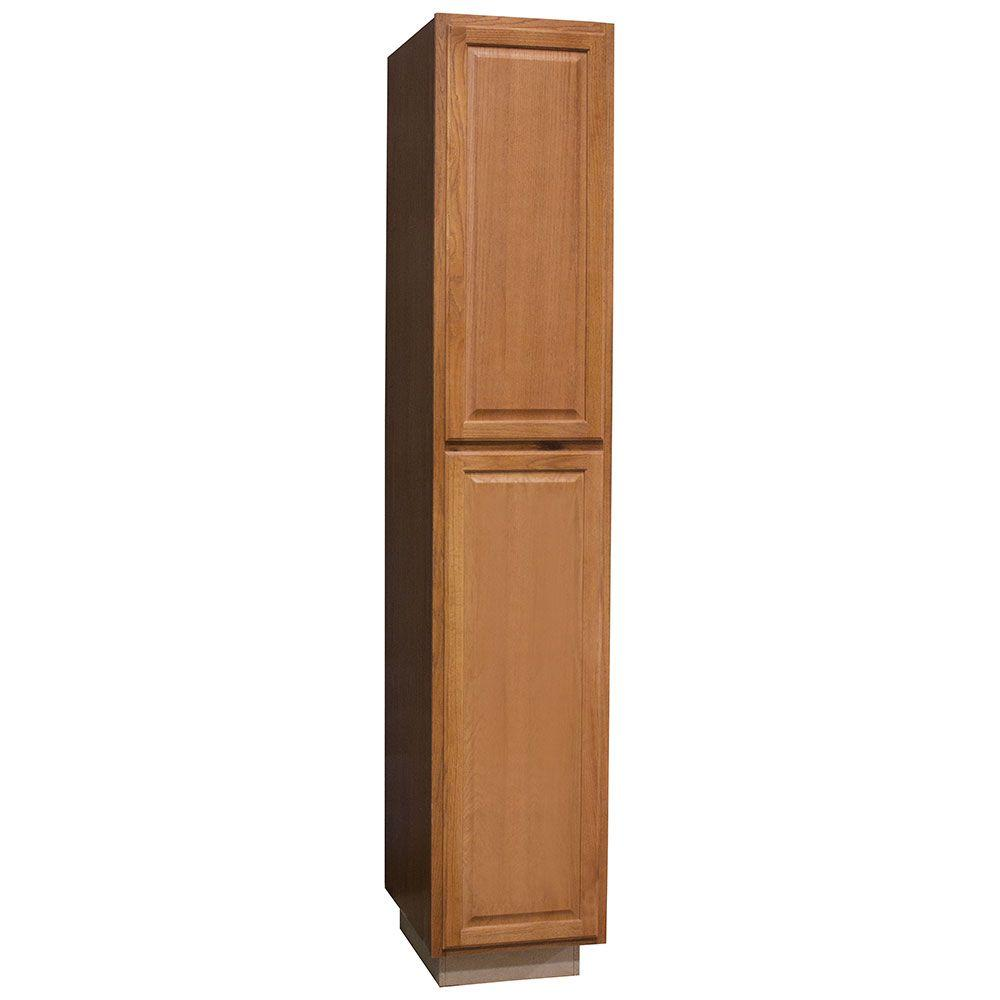 hampton bay hampton assembled 18 x 96 x 24 in pantry utility kitchen cabinet in medium oak. Black Bedroom Furniture Sets. Home Design Ideas