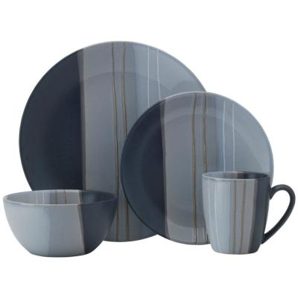 Parker Gray 16-Piece Stoneware Dinnerware Set (Service for 4)