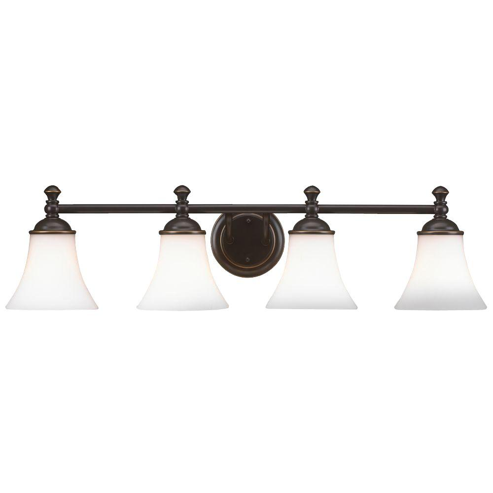 Hampton Bay Crawley 4 Light Oil Rubbed Bronze Vanity Light With White Glass  Shades