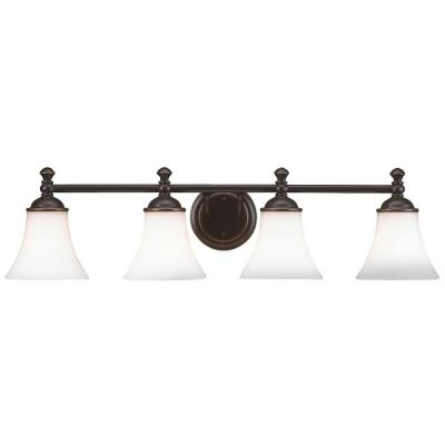 Crawley 4-Light Oil-Rubbed Bronze Vanity Light with White Glass Shades