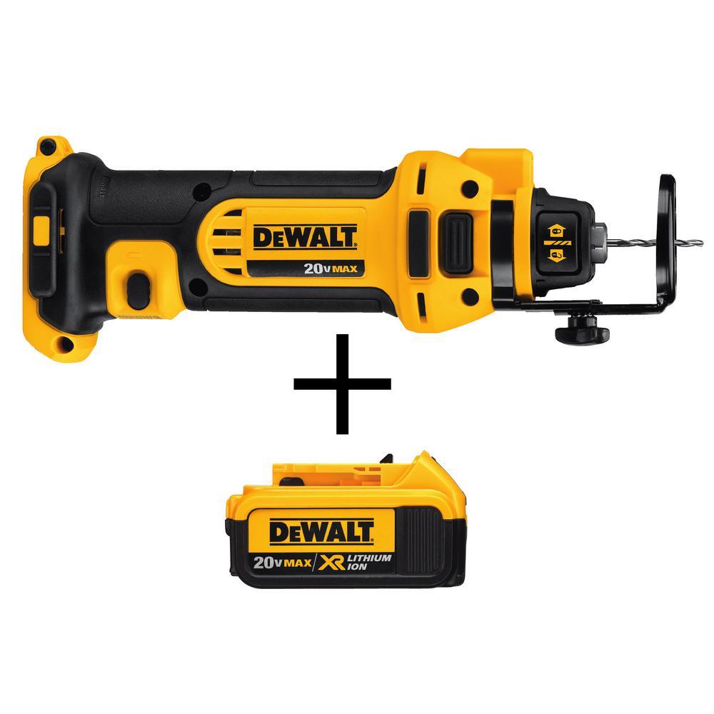 DEWALT 20-Volt MAX Li-Ion Cordless Drywall Cut-Out Tool (Tool-Only) with Free 20-Volt MAX XR Li-Ion Premium Battery Pack 4.0Ah